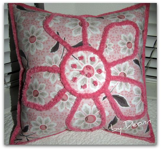 Love chenille!  flower pillow