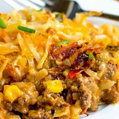 Mexicali Hashbrown Taco Casserole ....Bryan will like this. It's not rice OR pasta. lol