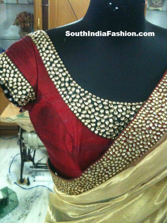 Gold sari, red blouse, beadwork
