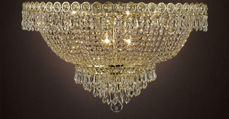 "French Empire Empress Crystal(Tm) Flush Chandelier Lighting H 12""... - Cjd-B39/Flush/Cg/2176/20"