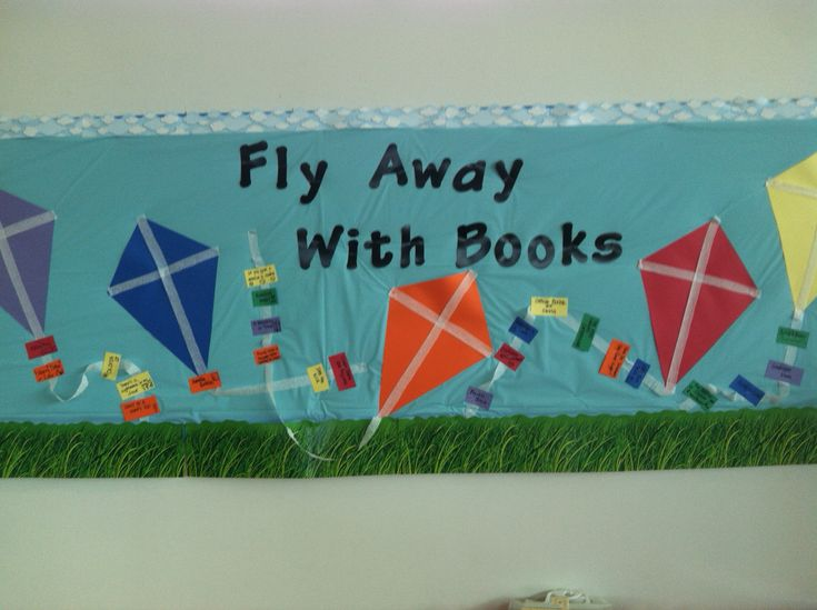 Bulletin board for library - good for March!  We all wrote our favorite books on the kite tails!