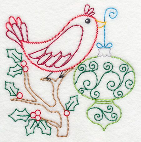 Christmas Whimsy Bird and Bulb 1 (Vintage)