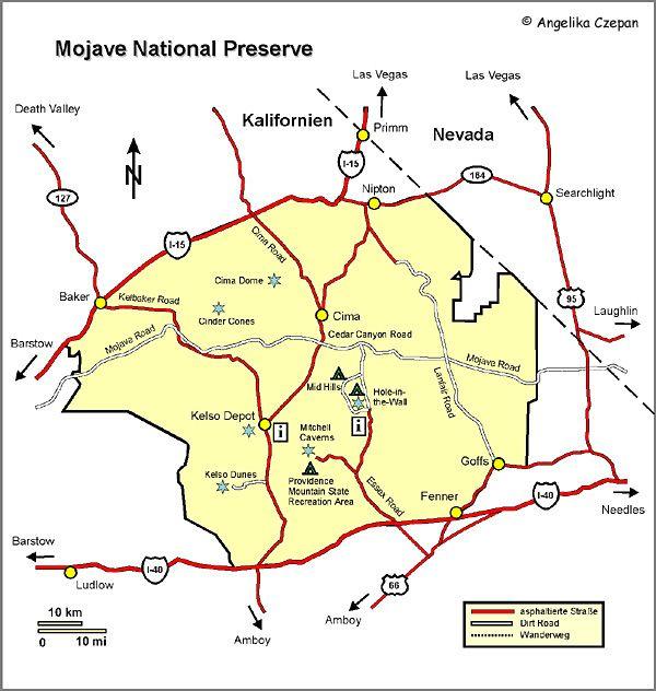 Mojave National Preserve Karte - Mojave map