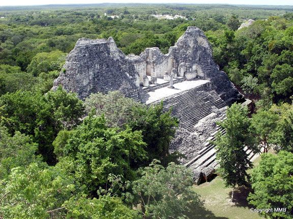 Temple at the Mayan Ruin of Becan, Campeche.  This shot was taken from an even taller temple.