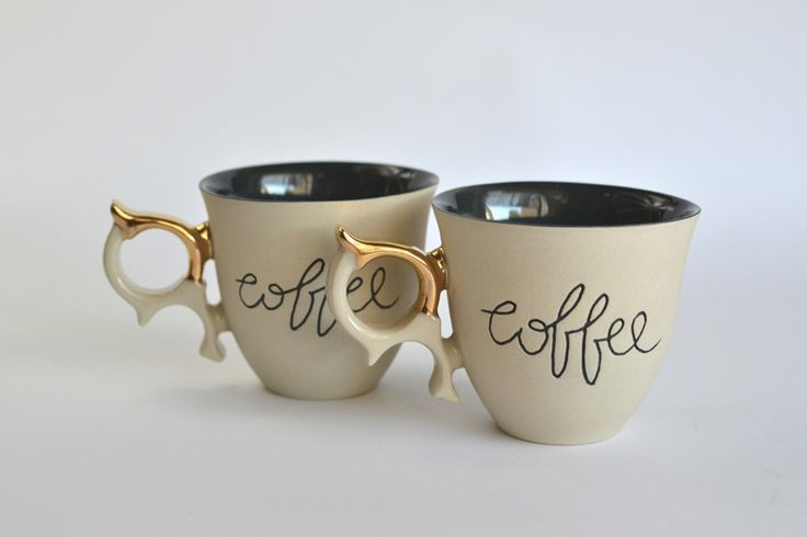 Set of two cups - Cream - coco_ceramics http://pl.dawanda.com/product/101170619-zestaw-filianek---cream
