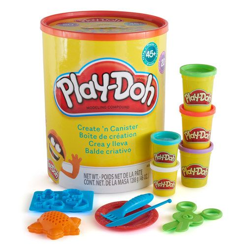 Play-Doh Create 'n Canister: Make numbers, pretend foods, shapes, and more with the cutters, molds, scissors & other fantastic accessories. Includes 20 cans of Play-Doh! // affiliate link