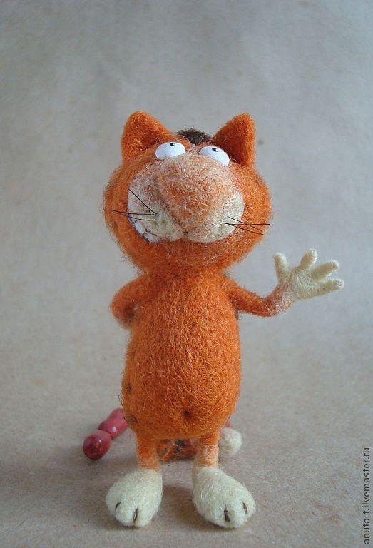 """Купить Интерьерная игрушка из шерсти """" Котососиска"""" - рыжий, кот, сосиска, интерьерная игрушка"""