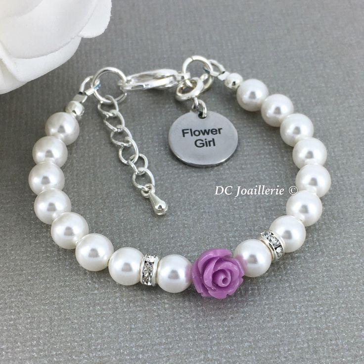 Lavender Flower Bracelet Pearl and Flower Bracelet Swarovski Bracelet Flower Girl Gift Purple Flower Bracelet Flower Girl Jewelry by dcjoaillerie on Etsy https://www.etsy.com/ca/listing/216858481/lavender-flower-bracelet-pearl-and