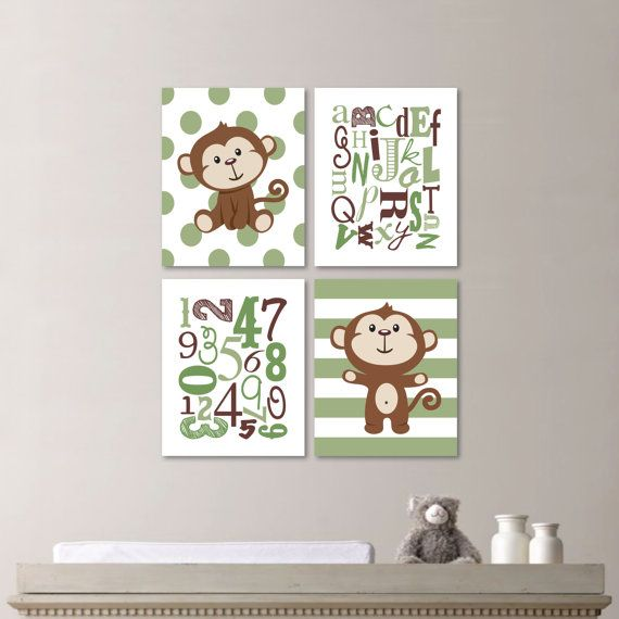 Baby Boy Nursery Art - Monkey Nursery - Monkey Bedroom - Monkey Decor - Monkey Art - Monkey Print - Alphabet - Green Brown (NS-562)