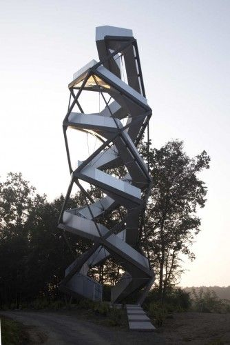 observation tower on the river mur by terrain, loenhart and mayer. AUSTRIA.