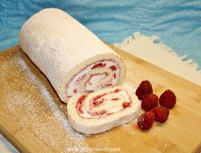 Raspberry and whip cream roll. A classic dessert recipe that can be made with any fresh or frozen fruit but must be made with real whip cream. A great dessert idea and nice alternative to regular cake.