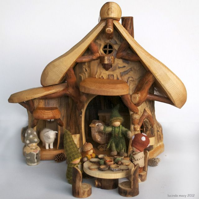 big mountain gnome lodge with fireplace and by willodel on etsy - Gnome House S Design