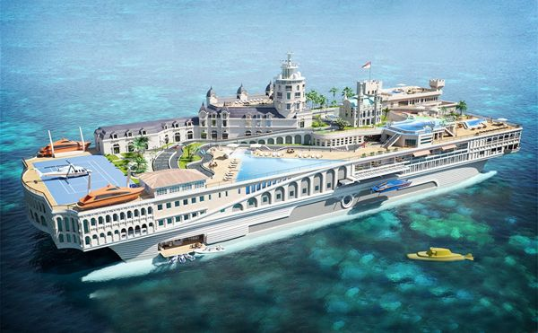 Streets of Monaco - $ 1.1 trillion This yacht is still under construction was designed by the British agency Yacht Island Design. mega Thi ...