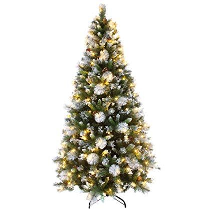 Mr Crimbo 7ft Luxury Pre Lit Decorated Artificial Christmas Tree LED