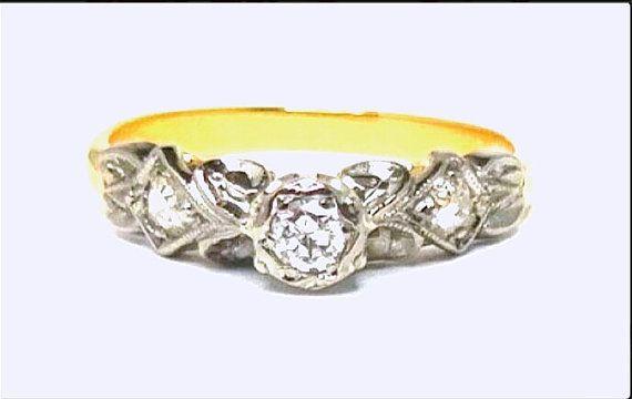 Art Nouveau Old Brilliant Cut Diamonds Engagement 18K White Gold Ring, Hand Assembled, FOR SALE $950 SIZE M 1/2 or 6 3/4
