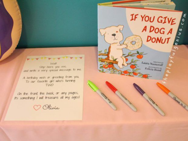 Children's Book Guest Book- Donut Party Theme! If You Give a Dog a Donut