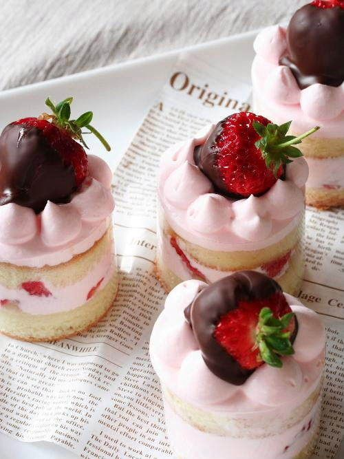 Strawberry Tea Cakes - Pound cake, strawberries and whipped cream. Chocolate covered strawberry top.