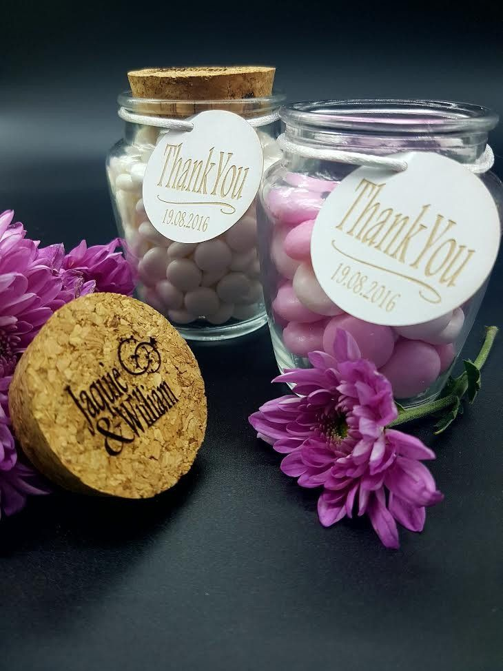 Cork Lid Personalised Wedding Favour Glass Jars with Thank You Tag