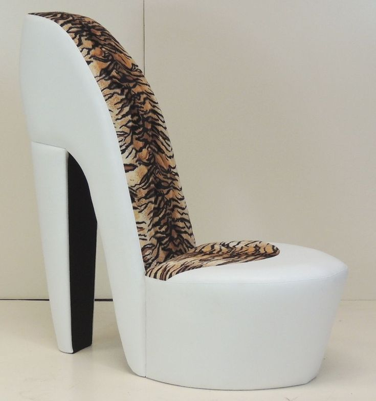 White stiletto shoe high heel chair tiger animal print animals spa pedicure chairs and