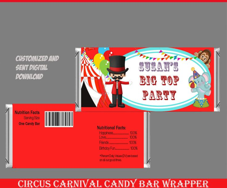 Circus Candy Bar Wrapper, Carnival Candy Bar Wrapper, Birthday Candy Bar Wrapper, Hershey Chocolate Bar Wrappers, Candy Wrappers by Cookiebarndesigns on Etsy