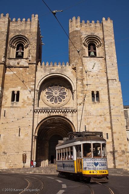 Sé catedral and tram, Lisbon