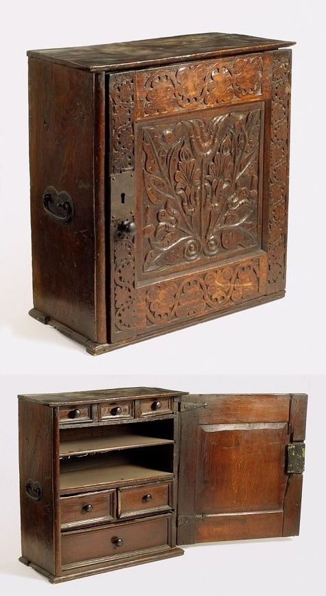The English Ladye — Spice cupboard, made in England, 1650-60 (source).