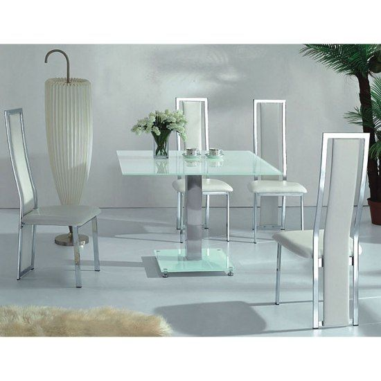 VO1 White Glass Square Dining Table With Four Dining