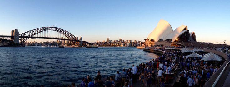 Panorama of Sydney Harbour Bridge, Opera House and Opera Bar
