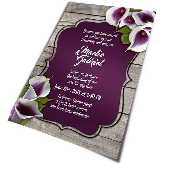 Calla Lily Wedding Invitation For Rustic Wedding U2022 Printable Wedding Invites  U2022 Purple Calla Lily Invitation