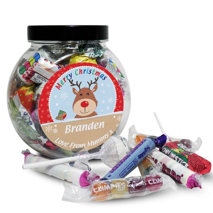Personalised Rudolph Sweet Jar What could be better than a jar of scrumptious sweets this Christmas from Creative Gifts uk
