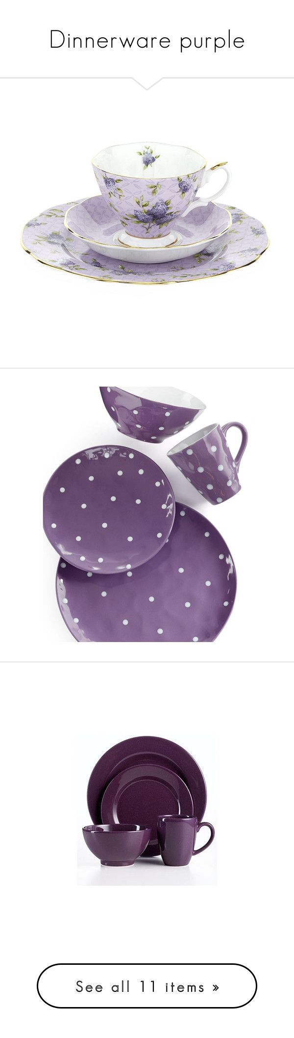 """""""Dinnerware purple"""" by elli951 ❤ liked on Polyvore featuring home, kitchen & dining, dinnerware, royal albert, royal albert dinnerware, floral dinnerware, purple, purple dinnerware, polka dot dinnerware and maxwell williams dinnerware"""