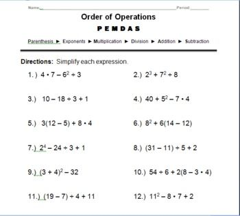 order of operations in math worksheets order of operations math problemsfree printable. Black Bedroom Furniture Sets. Home Design Ideas
