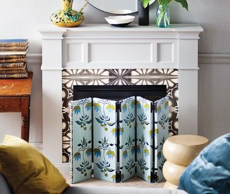 Art Canvases, Wallpaper, Glue, Cupboard Hinges & A Hint Of Creativity = Fireplace Screen for the Summer or for faux-fireplaces
