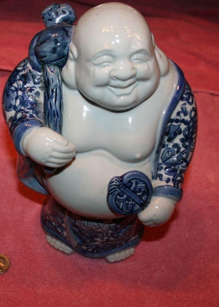 Vintage Fitz Amp Floyd Blue Amp White Porcelain Buddha Signed