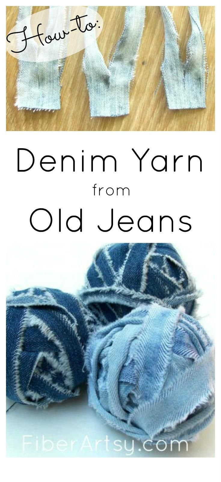 How to Make Denim Yarn from Old Jeans   Great for lots of knit and crochet patterns such as rugs or purses. Free tutorial from FiberArtsy.com