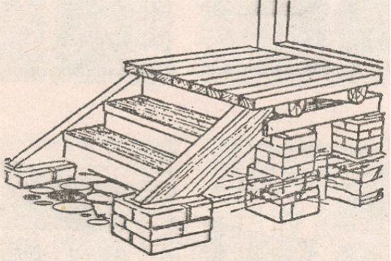 Схема, по которой можно сделать деревянные ступени для крыльца своими руками