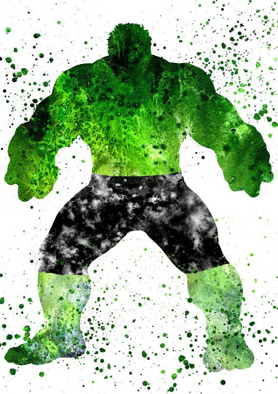 Incredible Hulk Print Marvel Superhero Watercolor por RosalisArt