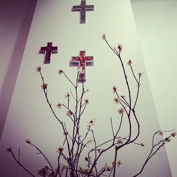 We have some pretty talented staff here at FABRIC. Thanks to @Antonia De Vere for the floral art display at FABRIC. They fit perfectly with our floral 'Undercover' crosses. #undercover #thisisFABRIC