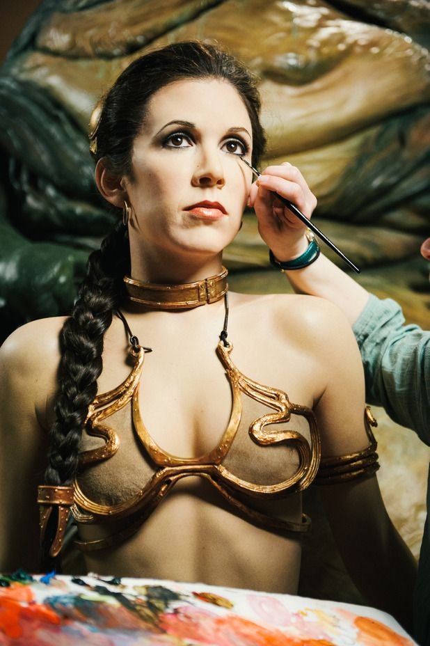 Carrie Fisher and Princess Leia  Star Wars Episode VI Return of the Jedi Behind the Scenes  *I hope that's Carrie Fisher, and not a wax figure...*