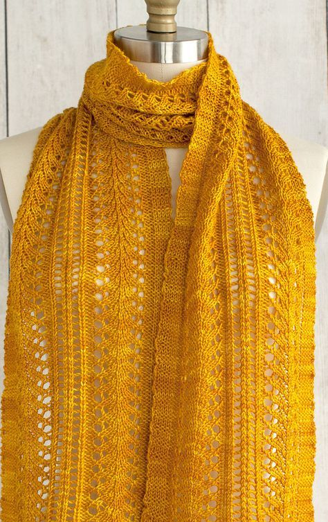 """Free Knitting Pattern for Easy 4 Row Repeat Sage Smudging Scarf - This easy lace scarf is knit with a 4 row repeat presented in written instructions and chart. 9"""" wide x 64"""" long. Fingering weight yarn. Designed by Rox Reverendo for Manos del Uruguay"""