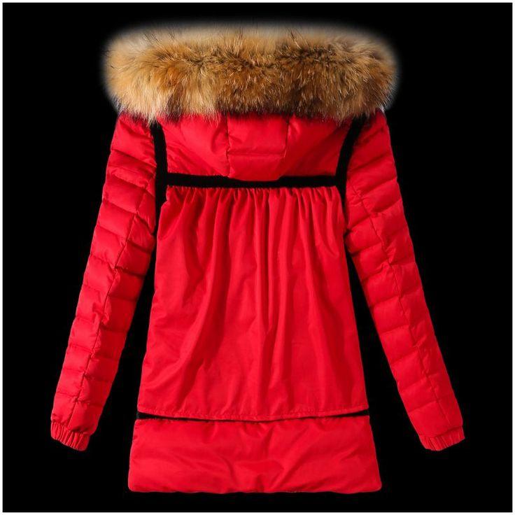 Moncler Y 05 Fell Kapuze Daunenjacke für Frauen in rot Moncler outlet Fashion