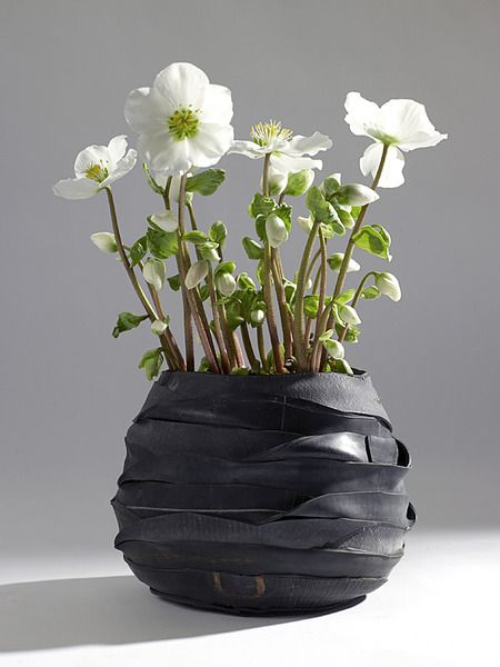 Bike Tube flower pot, design moniek vanden berghe - For more great pics, follow www.bikeengines.com