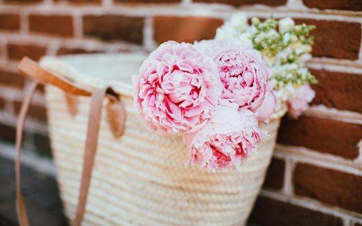 Lataa kuva Vaaleanpunainen pionit, kauniita kukkia, laukku, vaaleanpunainen terälehdet, pionit