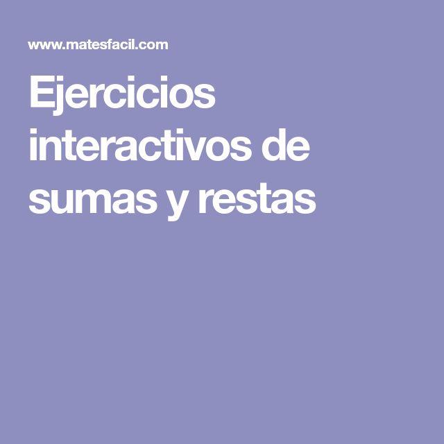 Ejercicios interactivos de sumas y restas