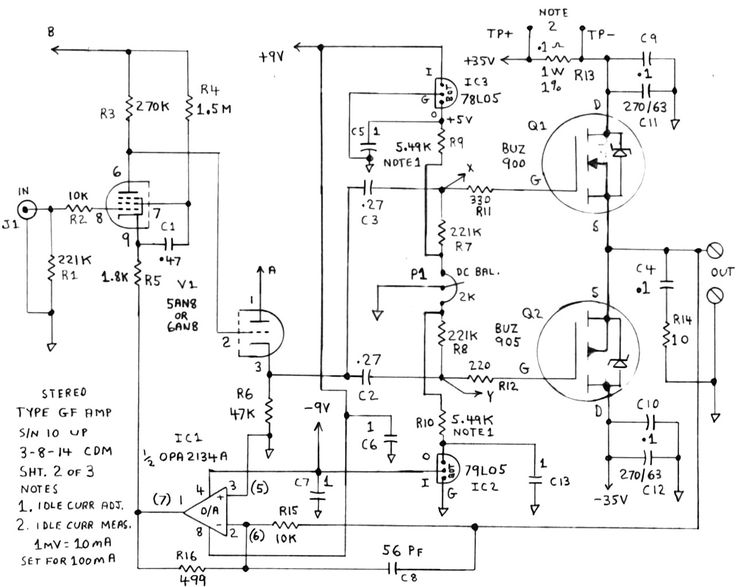 an audio power amp design that combines vacuum tube input circuitry with solid