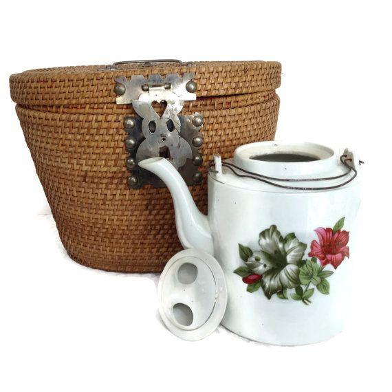 Antique Teapot Asian Teapot Teapot Wicker by TreasuresFoundShoppe