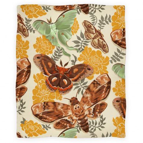 Moths Marigolds Blanket Floral Design Art Hipster