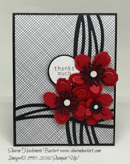 handmade card from Try Stampin' On Tuesday ... black, white and red ... luv the new die cut wavy lines ... die cut Botanical Blooms ... Stampin' Up!