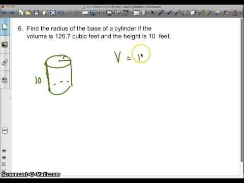 Challenge: Video - How to find the radius of a cylinder given the height and the volume.