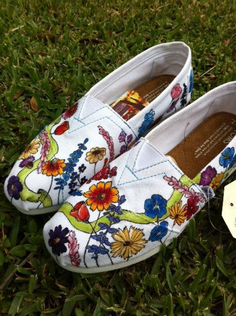 Custom hand painted TOMS Wildflower Wedding